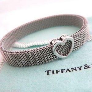 Tiffany & Co Stainless Steel Mesh Heart Bracelet